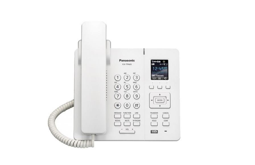 VoIP-телефон Panasonic KX-TPA65RUSIP-телефоны<br><br><br>Тип: VoIP-телефон<br>Поддержка DECT: есть<br>Подключение гарнитуры: есть<br>Встроенная телефонная книг: 500 контактов<br>Конференц-связь: есть