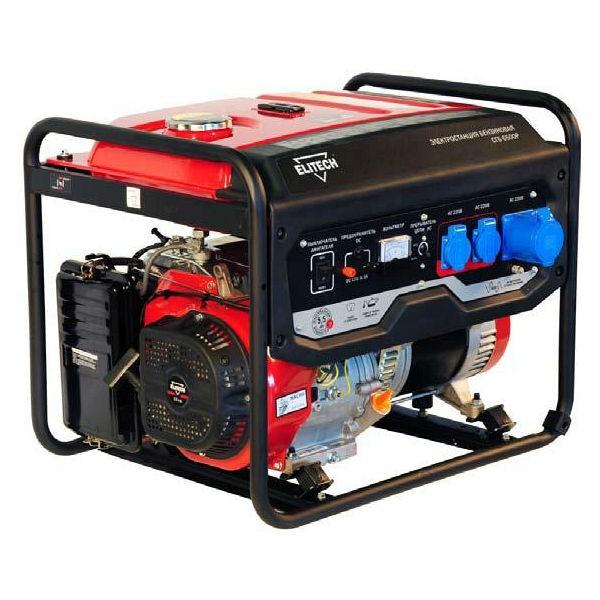 Электрогенератор Elitech СГБ 9500ЕЭлектрогенераторы<br>Генератор Elitech СГБ 9500Е - мощная установка для снабжения строительной и дорожно-ремонтной техники электричеством в объеме до 7.5 кВт. Топливный бак выполнен из металла, благодаря чему не проминается при ударе и обеспечивает генератору долгий срок службы в тяжелых условиях эксплуатации. Агрегат стабильно работает при температуре от -15 до &amp;#43;40 градусов, влажности не более 80% &amp;#40;показатель актуален для &amp;#43;25 градусов&amp;#41;, высоте до 1000 м над уровнем моря.<br><br>Тип электростанции: бензиновая<br>Тип запуска: ручной, электрический<br>Число фаз: 1 (220 вольт)<br>Объем двигателя: 439 куб.см<br>Тип охлаждения: воздушное<br>Объем бака: 25 л<br>Тип генератора: синхронный<br>Класс защиты генератора: IP23<br>Активная мощность, Вт: 7000<br>Защита от перегрузок: есть
