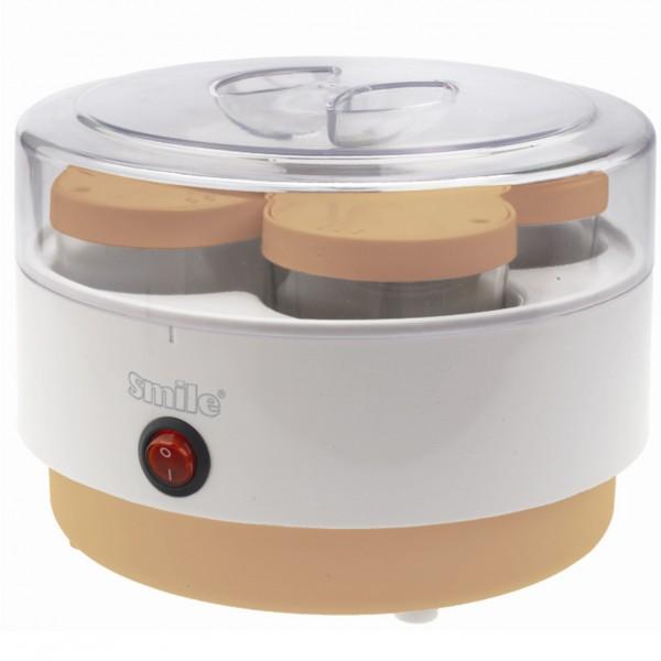 Йогуртница SMILE YM 3012Домашние помощники<br><br><br>Тип: йогуртница<br>Мощность, Вт.: 10<br>Цвет: комбинированный<br>Комплектация: 4 стеклянных стаканчика с крышками объемом 180мл каждый