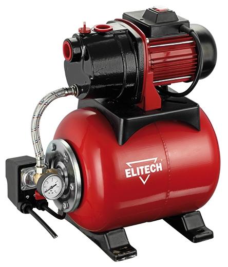 Насос Elitech САВ 800Ч/19Насосы<br>Насосная станция Elitech САВ 800Ч/19 предназначена для автоматического водоснабжения потребителей от источника воды до водоразборного узла, а также увеличения давления в действующей системе водоснабжения. Идеально подходит для водоснабжения малоэтажных домов, в которых отсутствует центральное водоснабжение.<br><br>- металлический гидроаккумулятор объемом 19 литров <br>- работа в автоматическом режиме <br>- малошумная чугунная помпа <br>- выключатель с защитой от пыли и капель воды <br>- стандартная присоединительная резьба G1<br><br>Глубина погружения: 8 м<br>Максимальный напор: 35 м<br>Пропускная способность: 3.3 куб. м/час<br>Напряжение сети: 220/230 В<br>Потребляемая мощность: 800 Вт<br>Качество воды: чистая<br>Установка насоса: горизонтальная