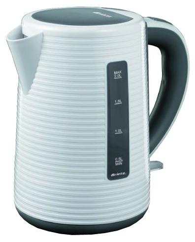 Электрочайник Ariete 2898Чайники и термопоты<br>Электрический чайник Ariete 2898 понравится всем, кто ценит простую и элегантную кухонную технику. Такой прибор будет очень кстати, если вы хотите быстро вскипятить воду для приготовления горячих напитков для вашей семьи или гостей. Всего пара минут – и ваш любимый чай будет готов. Корпус чайника выполнен из пластика белого цвета, имеет эргономичную большую ручку, его комфортно держать в руке. Широкий носик предоставляет возможность наливать воду, при этом, не открывая крышку. Кнопка включения оснащена подсветкой.<br><br>Вы убедитесь, что цена Ariete 2898 полностью...<br><br>Тип   : Электрочайник<br>Объем, л  : 1,7<br>Мощность, Вт  : 2200<br>Тип нагревательного элемента: Закрытая спираль<br>Материал корпуса  : пластик<br>Вращение на 360 градусов  : Есть<br>Автоотключение при закипании  : Есть<br>Индикация включения  : Есть<br>Индикатор уровня воды  : Есть<br>Блокировка крышки  : Есть