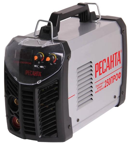 Сварочный аппарат Ресанта САИ-250ПРОФСварочные аппараты<br><br><br>Тип: сварочный инвертор<br>Сварочный ток (MMA): 10-250 А<br>Напряжение на входе: 100-260 В<br>Количество фаз питания: 1<br>Напряжение холостого хода: 65 В<br>Тип выходного тока: постоянный<br>Мощность, кВт: 6.5<br>Продолжительность включения при максимальном токе: 70 %<br>Диаметр электрода: 6 мм<br>Антиприлипание: есть