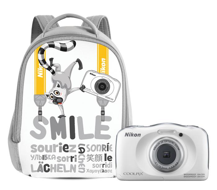 Цифровой фотоаппарат Nikon Coolpix W100 White Backpack kitЦифровые фотоаппараты<br><br><br>Тип: Цифровой Фотоаппарат<br>Стабилизатор изображения: Цифровой<br>Цвет: Белый<br>Кроп фактор: 7.38<br>Тип матрицы: CMOS<br>Размер матрицы: 1/3.1<br>Чувствительность: 125 - 1600 ISO, Auto ISO