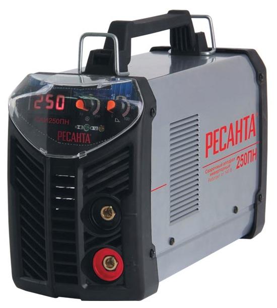 Сварочный аппарат Ресанта САИ-250ПНСварочные аппараты<br><br><br>Тип: сварочный инвертор<br>Сварочный ток (MMA): 10-250 А<br>Напряжение на входе: 140-260 В<br>Количество фаз питания: 1<br>Напряжение холостого хода: 80 В<br>Тип выходного тока: постоянный<br>Мощность, кВт: 7.7<br>Продолжительность включения при максимальном токе: 70 %<br>Диаметр электрода: 6 мм<br>Антиприлипание: есть