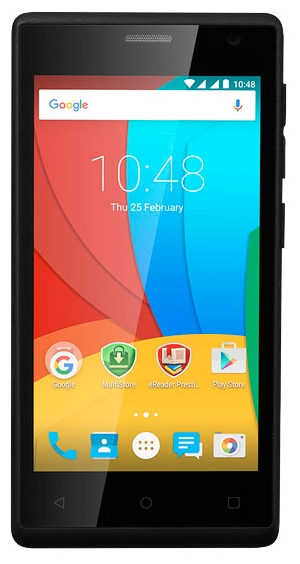Мобильный телефон Prestigio Wize O3 3458 BlackМобильные телефоны<br><br><br>Тип: Смартфон<br>Стандарт: GSM 900/1800/1900, 3G<br>Тип трубки: классический<br>Поддержка двух SIM-карт: есть<br>Операционная система: Android 5.1<br>Встроенная память: 4 Гб<br>Фотокамера: 5 млн пикс., светодиодная вспышка<br>Форматы проигрывателя: MP3<br>Разъем для наушников: 3.5 мм<br>Процессор: 1200 МГц