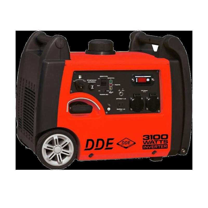 Электрогенератор DDE DPG3251SiЭлектрогенераторы<br><br><br>Тип электростанции: бензиновая, инверторная<br>Тип запуска: ручной<br>Число фаз: 1 (220 вольт)<br>Объем двигателя: 171 куб.см<br>Мощность двигателя: 5.5 л.с.<br>Тип охлаждения: воздушное<br>Объем бака: 6 л<br>Активная мощность, Вт: 2800<br>Звукоизоляционный кожух: есть<br>Защита от перегрузок: есть