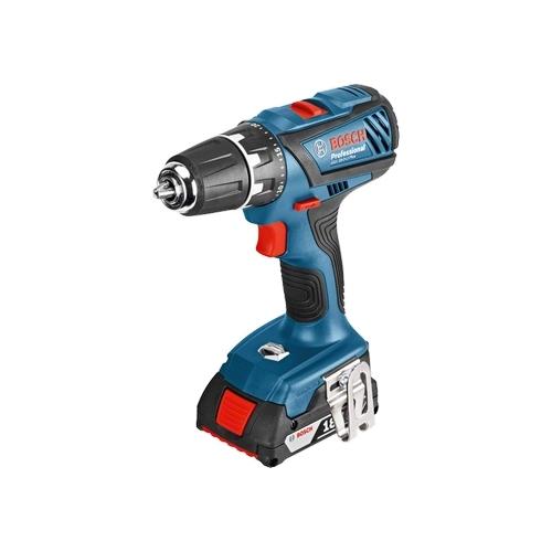Дрель-шуруповерт Bosch GSR 18-2-LI Plus 2.0Ah x2 Case [06019E6120]Дрели, шуруповерты, гайковерты<br>- Система Electronic Cell Protection &amp;#40;ECP&amp;#41; от Bosch: система защиты аккумуляторных элементов от перегрузки, перегрева и глубокого разряда<br>- Система Electronic Motor Protection &amp;#40;EMP&amp;#41; защищает двигатель от перегрузки и обеспечивает его долгий срок службы<br>- Встроенная светодиодная подсветка для освещения рабочей зоны в темных местах<br>- Монтируемый держатель бит для простой транспортировки и хранения бит на инструменте<br>- Практичный зажим для удобного подвешивания инструмента на ремень или стремянку<br>- Функция тормоза двигателя для точной работы при серийном заворачивании...<br><br>Тип: дрель-шуруповерт<br>Тип инструмента: безударный<br>Тип патрона: быстрозажимной<br>Количество скоростей работы: 2<br>Питание: от аккумулятора<br>Тормоз двигателя: есть<br>Возможности: реверс, фиксация шпинделя, электронная защита от перегрузок, электронная регулировка частоты вращения<br>Тип аккумулятора: Li-Ion<br>Съемный аккумулятор: есть<br>Дополнительный аккумулятор: есть