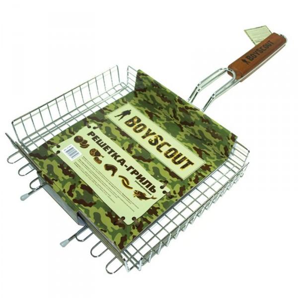 Решетка-гриль BoyScout 61302Мангалы, барбекю, гриль<br>Решетка-гриль BOYSCOUT 61302 отлично Вам подойдет для жарки барбекю, гриля. Вас приятно порадует, что решетка универсальная и Вы можете жарить на ней что угодно. Решетка изготовлена из безопасных материалов и Вы можете быть спокойны за свое здоровье и качество пищи.<br><br>Тип: Решетка для гриля<br>Материал корпуса: сталь