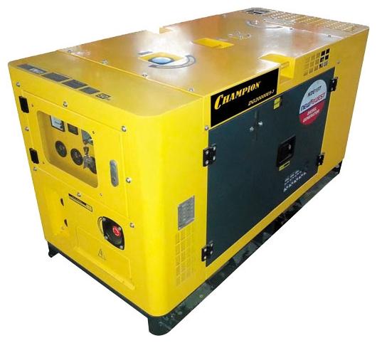 Электрогенератор Champion DG20000ES-3Электрогенераторы<br><br><br>Тип электростанции: дизельная<br>Тип запуска: электрический<br>Число фаз: 3 (380/220 вольт)<br>Объем двигателя: 3800 куб.см<br>Мощность двигателя: 34 л.с.<br>Тип охлаждения: жидкостное<br>Расход топлива: 5 л/ч<br>Объем бака: 50 л<br>Активная мощность, Вт: 20000<br>Звукоизоляционный кожух: есть