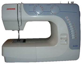 Электромеханическая швейная машина Janome EL532Швейные машины<br>Комплектация:<br>Лапка универсальная &amp;#40;A&amp;#41; &amp;#40;установлена на машине&amp;#41;<br>Лапка для вшивания молнии &amp;#40;E&amp;#41;<br>Лапка для выметывания петли<br>Шпульки &amp;#40;3 шт.&amp;#41;<br>Вспарыватель<br>Набор игл для Х/Б тканей<br><br>Тип: электромеханическая<br>Вышивальный блок: нет<br>Количество швейных операций: 15<br>Выполнение петли: полуавтомат<br>Максимальная длина стежка: 4.0 мм<br>Потайная строчка : есть<br>Эластичная строчка : есть<br>Эластичная потайная строчка: есть<br>Кнопка реверса: есть<br>Регулировка скорости шитья: плавная