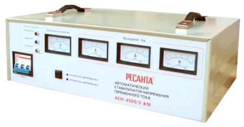 Стабилизатор напряжения Ресанта ACH-4500/3-ЭМСтабилизаторы напряжения<br>Трехфазный стабилизатор напряжения «Ресанта», предназначен для обеспечения стабилизированным электропитанием различных потребителей в условиях нестабильного по значению напряжения питающей сети 380В.<br><br>Тип: стабилизатор напряжения