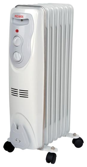 Масляный радиатор Ресанта ОМ-7НОбогреватели<br><br><br>Тип: масляный радиатор<br>Максимальная мощность обогрева: 1500 Вт<br>Количество секций: 7<br>Каминный эффект : есть<br>Управление: механическое<br>Регулировка температуры: есть<br>Термостат: есть<br>Выключатель со световым индикатором: есть<br>Напольная установка: есть<br>Отделение для шнура : есть