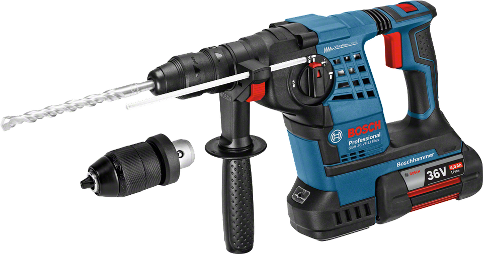 Перфоратор Bosch GBH 36 VF-LI Plus [0611907002]Перфораторы<br>- Система Vibration Control для неутомительной работы<br>- Светодиодная рабочая подсветка для оптимального обзора рабочей зоны<br>- Сверление до 240 отверстий в бетоне &amp;#40;? 6 x 40 мм&amp;#41; на одной зарядке аккумулятора<br>- 3 функции: сверление без удара, ударное сверление, долбление<br>- Инновационные аккумуляторы CoolPack обеспечивают оптимальный отвод тепла и тем самым увеличивают срок службы на 100 % &amp;#40;ср. литий-ионные аккумуляторы без CoolPack&amp;#41;<br>- Bosch Electronic Cell Protection &amp;#40;ECP&amp;#41;: система защиты аккумулятора от перегрузки, перегрева и глубокого разряда<br>- Исключительно быстрая зарядка:...<br>