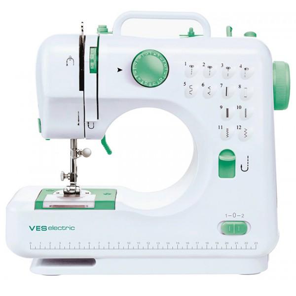 Швейная машина VES 505-WШвейные машины<br><br><br>Тип: электромеханическая<br>Тип челнока: качающийся<br>Вышивальный блок: нет<br>Количество швейных операций: 8<br>Выполнение петли: ручное<br>Потайная строчка : есть<br>Эластичная строчка : есть<br>Эластичная потайная строчка: есть<br>Кнопка реверса: есть<br>Отсек для аксессуаров : есть