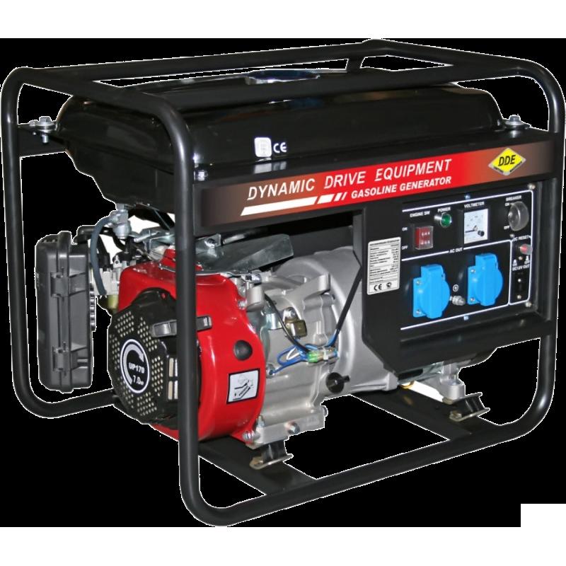 Электрогенератор DDE GG3300Электрогенераторы<br><br><br>Тип электростанции: бензиновая<br>Тип запуска: ручной<br>Число фаз: 1 (220 вольт)<br>Объем двигателя: 208 куб.см<br>Мощность двигателя: 7 л.с.<br>Тип охлаждения: воздушное<br>Расход топлива: 1.5 л/ч<br>Объем бака: 15 л<br>Тип генератора: синхронный<br>Класс защиты генератора: IP23