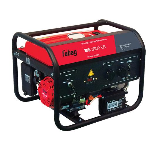 Электрогенератор FUBAG BS 3300 ESЭлектрогенераторы<br>Станция с самой популярной бытовой мощностью в комплектации с электростартером - отличный аварийный источник электроэнергии на даче: обеспечит освещение и работу. Позволяет автономно работать практически со всем ручным электроинструментом. <br><br>профессиональный OHV-двигатель FUBAG;<br>- электростартер;<br>- система AVR, регулирующая выходное напряжение станции;<br>- система защиты от короткого замыкания или превышения допустимой нагрузки;<br>- система защитного отключения при пониженном уровне масла;<br>- многофункциональный дисплей;<br>- 2 розетки 220 В / 16 А.<br><br>Тип электростанции: бензиновая<br>Число фаз: 1 (220 вольт)<br>Объем двигателя: 337 куб. см<br>Объем бака: 15 л<br>Активная мощность, Вт: 3000