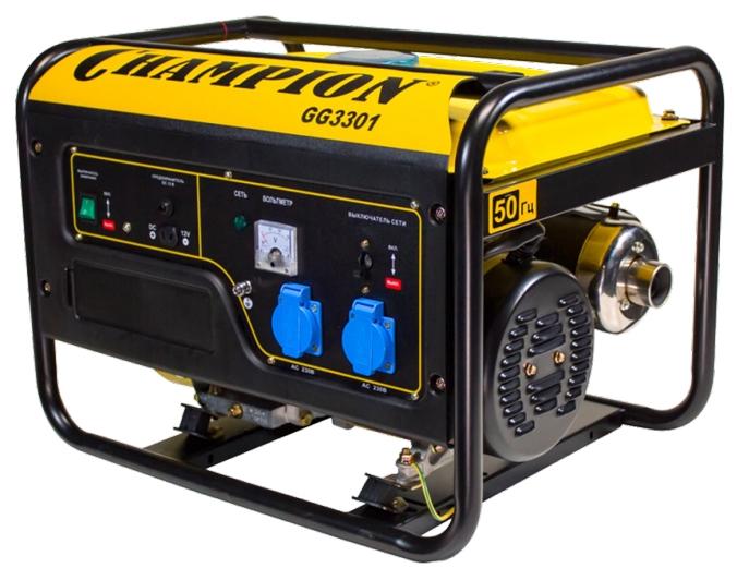 Электрогенератор Champion GG3301Электрогенераторы<br><br><br>Тип электростанции: бензиновая<br>Тип запуска: ручной<br>Число фаз: 1 (220 вольт)<br>Объем двигателя: 223 куб.см<br>Мощность двигателя: 7.5 л.с.<br>Тип охлаждения: воздушное<br>Расход топлива: 1.8 л/ч<br>Объем бака: 16 л<br>Тип генератора: синхронный<br>Активная мощность, Вт: 2800