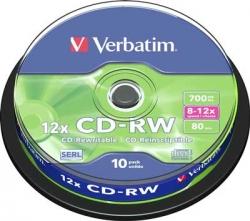 Диск VERBATIM CD-RW 80 (10шт./кейкбокс)Диски CD/DVD<br><br><br>Тип: CD-RW<br>Объем : 700 Мб<br>Скорость записи: 12x