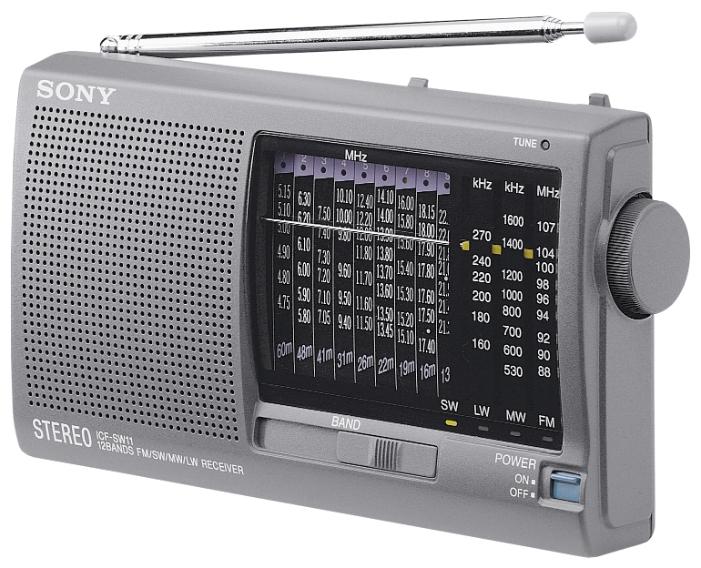 Радиоприемник Sony ICF-SW11/SРадиобудильники, приёмники и часы<br><br><br>Тип: Радиоприемник<br>Тип тюнера: Аналоговый<br>Колличество динамиков  : 1<br>Часы: Нет<br>Встроенный будильник  : Нет