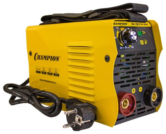 Сварочный аппарат Champion IW-120/5A miniСварочные аппараты<br>Сварочный инвертор CHAMPION IW-120/5A mini ручной электродуговой сварки штучными плавящимися электродами &amp;#40;MMA&amp;#41; предназначен для непрофессионального использования для сварки изделий из металла. Сварочный инвертор Champion IW-120/5A mini имеет возможность работы на пониженном напряжении до 160 В и повышенном до 250 В. Диаметр электродов MMA в диапазоне 1.6-3,2 мм. Наклонная панель управления обеспечивает удобство при управлении режимами сварки и параметрами сварочного тока. <br><br>Сварочный аппарат оснащен следующими функциями: <br>- функция зажигания дуги HOT START; <br>- функция...<br><br>Тип: сварочный инвертор<br>Сварочный ток (MMA): 30-120 А<br>Напряжение на входе: 160-250 В<br>Количество фаз питания: 1<br>Напряжение холостого хода: 60 В<br>Тип выходного тока: постоянный<br>Мощность, кВт: 5.0<br>Продолжительность включения при максимальном токе: 60 %<br>Диаметр электрода: 1.60-3.20 мм<br>Класс изоляции: F