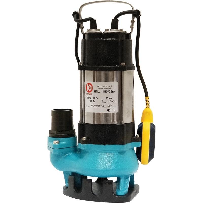 Насос Калибр НПЦ-450/25НКНасосы<br>Насос погружной центробежный Калибр НПЦ-450/25НК предназначен для автоматического перекачивания чистой или грязной воды.<br>- корпус из нержавеющей стали<br>- чугунное основание<br><br>Глубина погружения: 5 м<br>Максимальный напор: 8.5 м<br>Пропускная способность: 12 куб. м/час<br>Напряжение сети: 220/230 В<br>Потребляемая мощность: 450 Вт<br>Качество воды: чистая<br>Размер фильтруемых частиц: 25 мм<br>Установка насоса: вертикальная