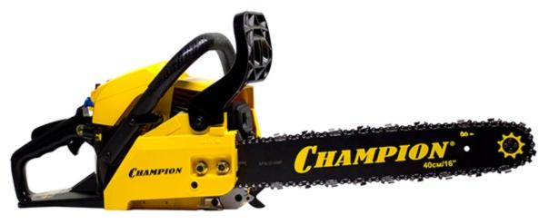 Бензопила Champion 237-16Пилы<br>Бензопила Champion 237-16 предназначена для использования в быту. Одноцилиндровый 2-х тактный двигатель легко заводится и охлаждается потоком воздуха. Агрегат оснащен тормозом цепи, что повышает безопасность при работе. Задняя и боковая рукоятки способствуют комфортному удержанию бензопилы.<br><br>Тип: бензопила<br>Конструкция: ручная<br>Мощность, Вт: 1500<br>Объем двигателя: 37.2 куб. см<br>Функции и возможности: антивибрация, тормоз цепи