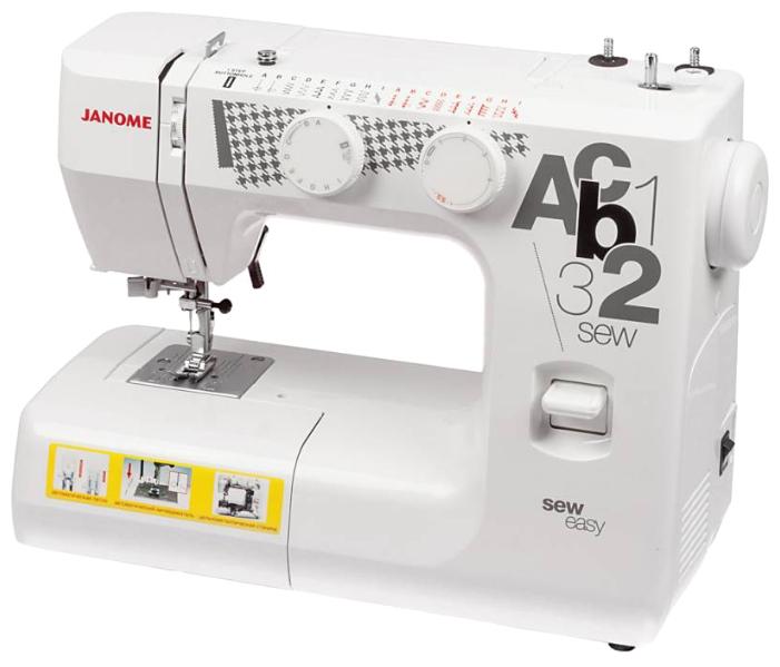 Швейная машина Janome Sew EasyШвейные машины<br><br><br>Тип: электромеханическая<br>Тип челнока: качающийся<br>Вышивальный блок: нет<br>Количество швейных операций: 8<br>Выполнение петли: автомат<br>Максимальная длина стежка: 4.0 мм<br>Потайная строчка : есть<br>Эластичная строчка : есть<br>Кнопка реверса: есть<br>Регулировка скорости шитья: ступенчатая