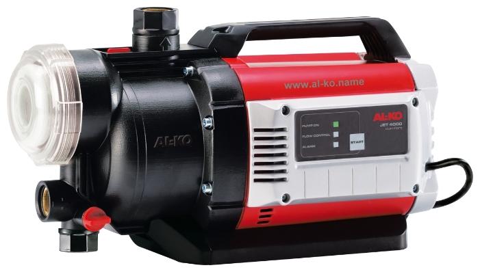 Насос AL-KO Jet 4000 ComfortНасосы<br>Большой напор и высокая производительность. С системой регулирования расходов и легко очищаемым предварительным XXL-фильтром. Встроенная защита от сухого хода. Энергоэкономичен. Надежен в работе, с низким уровнем шума.<br><br>Глубина погружения: 8 м<br>Максимальный напор: 45 м<br>Пропускная способность: 4 куб. м/час<br>Напряжение сети: 220/230 В<br>Потребляемая мощность: 1000 Вт<br>Качество воды: чистая<br>Установка насоса: горизонтальная