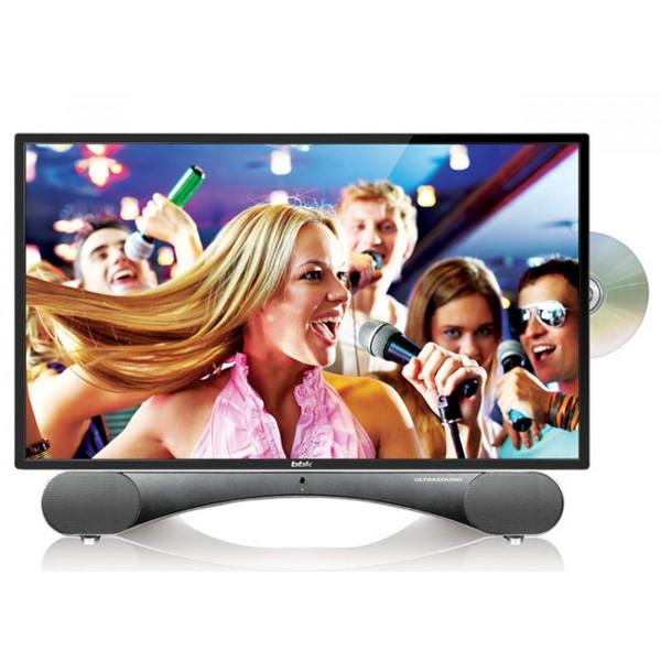 Жк телевизор BBK 24LED-6003/FT2CKЖК и LED телевизоры<br>Отличительной особенностью телевизоров BBK серии ULTRASOUND является эксклюзивная подставка, представляющая собой стильную звуковую панель и превращающая телевизор в настоящий домашний центр развлечений.<br><br>Благодаря использованию высококачественных динамиков и программных решений Sonic Boom удалось добиться уникального мощного и вместе с тем естественного звучания.<br><br>Существенным плюсом является наличие мультиформатного DVD-плеера с механизмом загрузки Slot-in и функции караоке, которая позволит исполнить любимые песни и надолго зарядиться позитивной...<br><br>Поддержка телевизионных стандартов: PAL/SECAM/NTSC