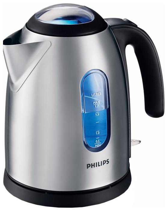 Чайник Philips HD 4667/20Чайники и термопоты<br><br><br>Тип   : Электрочайник<br>Объем, л  : 1.7<br>Мощность, Вт  : 2400<br>Тип нагревательного элемента: Закрытая спираль<br>Материал корпуса  : металл<br>Вращение на 360 градусов  : Есть<br>Подсветка  : Есть<br>Индикация включения  : Есть<br>Индикатор уровня воды  : Есть<br>Блокировка крышки  : Есть