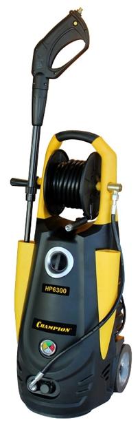 Мойка высокого давления Champion HP6300Мойки высокого давления<br><br><br>Давление, Бар: 225<br>Производительность, л/час: 420<br>Потребляемая мощность: Потребляемая мощность 3 кВт·ч<br>Напряжение сети: 220/230 В<br>Насадки: стандартная<br>Шланг ВД: способ хранения: катушка, длина 5 м