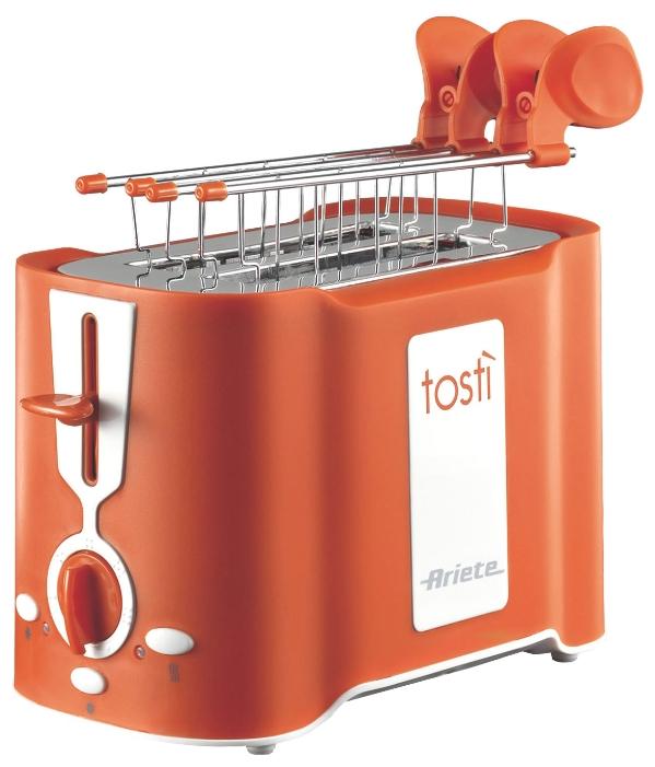 Тостер Ariete 124/11 OrangeТостеры и минипечи<br>Тостер Ariete 124/11 Orange Tosty – практичный и красивый тостер оранжевого цвета, который сделает вашу кухню яркой. Если вам нравится красочная техника, эта модель – то, что вам нужно. Она имеет эргономичную форму и поместится даже на крошечной кухне. Мощность прибора составляет 500 Вт, поэтому, не смотря на то, что он имеет всего 2 слота, вы быстро приготовите целую гору тостов. Простой в использовании, надежный и качественный, этот тостер станет отличным подарком. Пользоваться им – одно удовольствие.<br><br>Что умеет?<br>Купить Ariete 124/11 – сделать правильный выбор....<br><br>Тип: тостер<br>Мощность, Вт.: 500<br>Тип управления: Электронное<br>Количество отделений: 2<br>Количество тостов: 2