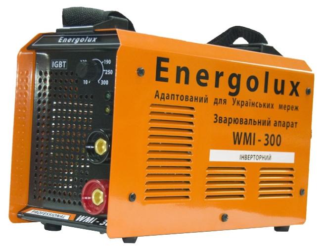 Сварочный аппарат Energolux WMI-300Сварочные аппараты<br><br><br>Тип: сварочный инвертор<br>Сварочный ток (MMA): 10-300 А<br>Напряжение на входе: 154-242 В<br>Количество фаз питания: 1<br>Напряжение холостого хода: 80 В<br>Тип выходного тока: постоянный<br>Продолжительность включения при максимальном токе: 70 %<br>Диаметр электрода: 1.60-6 мм<br>Антиприлипание: есть<br>Горячий старт: есть