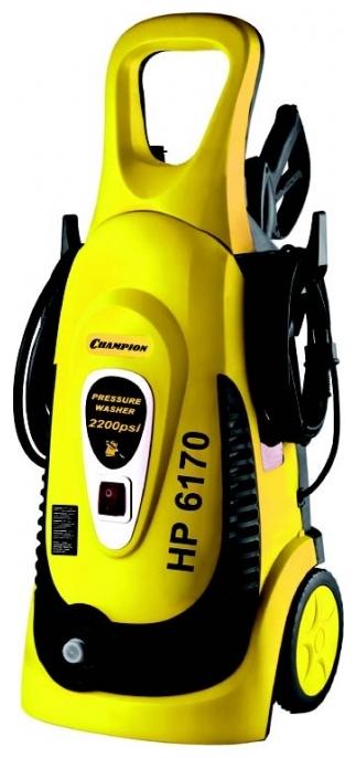 Мойка высокого давления Champion HP6170Мойки высокого давления<br><br><br>Давление, Бар: 150<br>Производительность, л/час: 402<br>Потребляемая мощность: 1.7 кВт·ч<br>Насадки: стандартная<br>Шланг ВД: способ хранения: держатель, длина 5 м