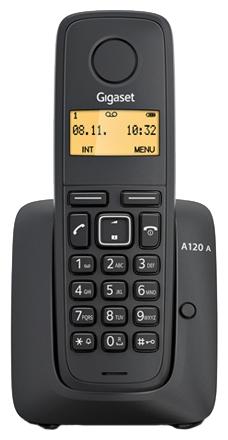 Радиотелефон Gigaset A120A BlackРадиотелефон Dect<br>Gigaset a120a, black для вашего комфортного общения.<br><br><br>  <br><br><br>Вы часто разговариваете по телефону? Тогда вы, конечно, знаете, как важен удобный и качественный аппарат. Ведь во время разговора с друзьями и коллегами вам должно быть максимально комфортно. Именно поэтому мы рекомендуем вам радиотелефон Gigaset a120a, black.<br><br><br>  <br><br><br>Этот телефон отличается высокой эргономикой, высокой надежностью, которая характерна для всех аппаратов фирмы Gigaset, и, конечно, доступной ценой. Согласитесь, цена &amp;mdash; это важная характеристика при покупке телефона, тем более такого качественного...<br><br>Тип: Радиотелефон<br>Количество трубок: 1<br>Рабочая частота: 1880-1900 МГц<br>Стандарт: DECT/GAP<br>Радиус действия в помещении / на открытой местност: 50/300<br>Возможность набора на базе: Нет<br>Проводная трубка на базе : Нет<br>Время работы трубки (режим разг. / режим ожид.): 18 / 200 ч<br>Полифонические мелодии: 10<br>Дисплей: на трубке (монохромный с подсветкой), 1 строка