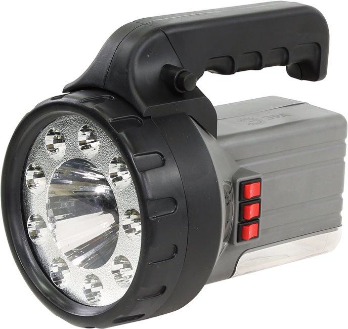 Фонарь ЭРА FA58MФонари<br>Фонарь аккумуляторный Эра FA58M - мощный и функциональный аккумуляторный фонарь 3 в 1, который совмещает в себе три вида ламп: фонарь 9хLED, светодиод 1W, светильник18хLED. Устройство работает на основе свинцово-кислотного аккумулятора 6V 2.5Ah. Мощный корпус выполнен и качественного и ударопрочного пластика, который гарантирует долговечность, надежность и относительную легкость устройства. Поворотная рукоятка имеет 2 фиксированных положения: сложенное походное и под углом 90 градусов к корпусу. Фонарь можно подзарядить от сети через адаптер. Этот про...<br>