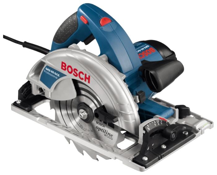 Дисковая пила Bosch GKS 65 GCE [0601668900]Пилы<br><br><br>Тип: дисковая<br>Конструкция: ручная<br>Мощность, Вт: 1800 Вт<br>Функции и возможности: плавный пуск, электронная защита двигателя, плавная регулировка скорости, блокировка шпинделя, подключение пылесоса