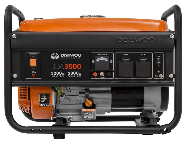 Электрогенератор Daewoo GDA 3500Электрогенераторы<br><br><br>Тип электростанции: бензиновая<br>Тип запуска: ручной<br>Число фаз: 1 (220 вольт)<br>Объем двигателя: 208 куб.см<br>Мощность двигателя: 7 л.с.<br>Тип охлаждения: воздушное<br>Объем бака: 15 л<br>Активная мощность, Вт: 2800<br>Защита от перегрузок: есть<br>Описание: сила тока 13.9 А. Полная мощность 2.80 кВА