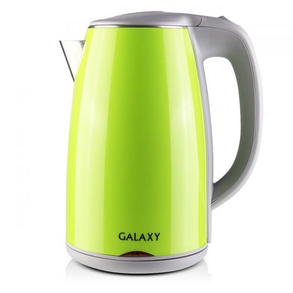 Электрочайник Galaxy GL 0307 GreenЧайники и термопоты<br>Внешняя стенка чайника выполнена из экологически-безопасного пищевого пластика, внутренняя- из нержавеющей стали марки 18/10. Благодаря пластиковой стенке, чайник не нагревается и о него невозможно обжечься.<br><br>В то же время все части чайника Galaxy, которые контактируют с водой, выполнены из стали марки 18/10, которая при нагревании не выделяет в воду вредные вещества и является абсолютно безопасной. Вкус воды также остается неизменным.<br><br>Кроме того, между стенок есть небольшая воздушная прослойка или так называемый теплоизолирующий зазор &amp;#40;как в термосах...<br>