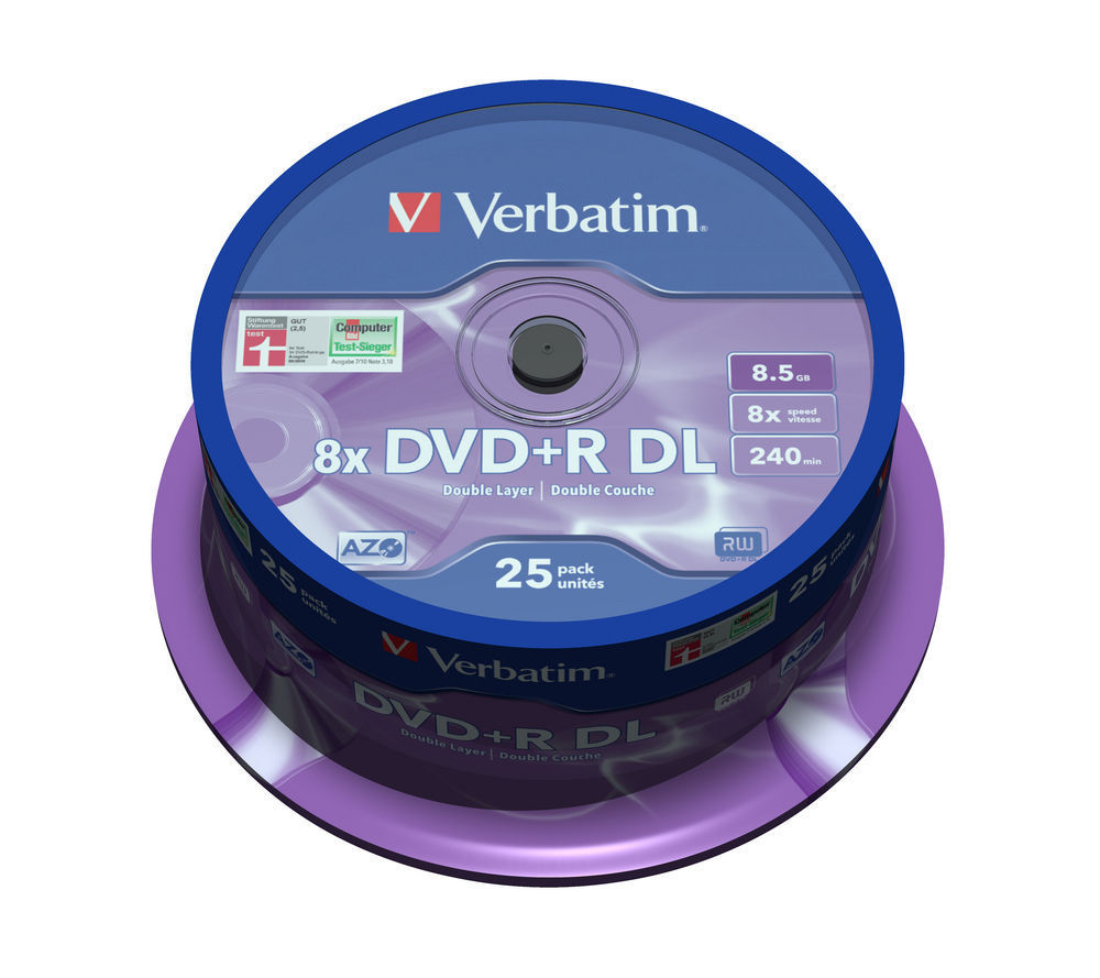 Диск Verbatim DVD+R 8.5GB Dual Layer (25шт./кейкбокс)Диски CD/DVD<br><br><br>Тип: DVD+R<br>Объем : 8,5 ГБ<br>Скорость записи: 8x