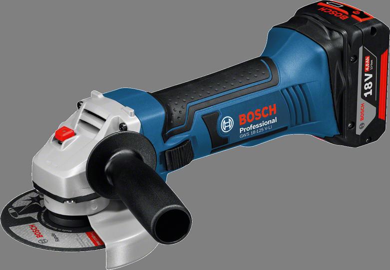 Угловая шлифмашина Bosch GWS 18-125 V-LI [060193A307]Шлифовальные и заточные машины<br>- Инновационные аккумуляторы CoolPack обеспечивают оптимальный отвод тепла и тем самым увеличивают срок службы на 100 % &amp;#40;ср. литий-ионные аккумуляторы без CoolPack&amp;#41;<br>- Bosch Electronic Cell Protection &amp;#40;ECP&amp;#41;: система защиты аккумулятора от перегрузки, перегрева и глубокого разряда<br>- Система Electronic Motor Protection &amp;#40;EMP&amp;#41; от Bosch защищает двигатель от перегрузки и обеспечивает его долгий срок службы<br>- Удобный индикатор заряда: показывает степень заряженности аккумулятора в любое время<br>- Корпус редуктора переставляется с шагом 90°<br>- Установка рукоятки с левой или с правой...<br>