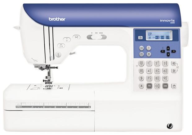 Швейная машина Brother INNOV-IS 500 (NV-500)Швейные машины<br><br><br>Тип: электронная<br>Тип челнока: ротационный горизонтальный<br>Количество швейных операций: 249<br>Выполнение петли: автомат<br>Число петель: 10<br>Оверлочная строчка : есть<br>Потайная строчка : есть<br>Эластичная строчка : есть<br>Кнопка реверса: есть<br>Регулировка давления лапки на ткань: есть