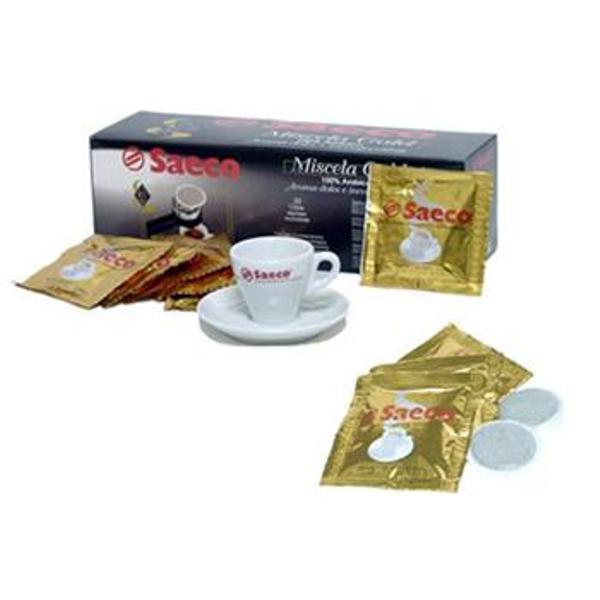 Кофе в чалдах Saeco Gold 7 гр. (36 шт)Кофе, какао<br><br><br>Тип: чалды<br>Обжарка кофе: средняя<br>Дополнительно: Минимальный заказ 37 штук. 100% арабика, собранная с лучших плантаций. Обладает бархатным вкусом. Эспрессо получается мягким и очень ароматным. Содержание кофеина в этом сорте невелико, и Вы можете себе позволить выпить чашечку кофе даже вечером.<br>Количество: 36