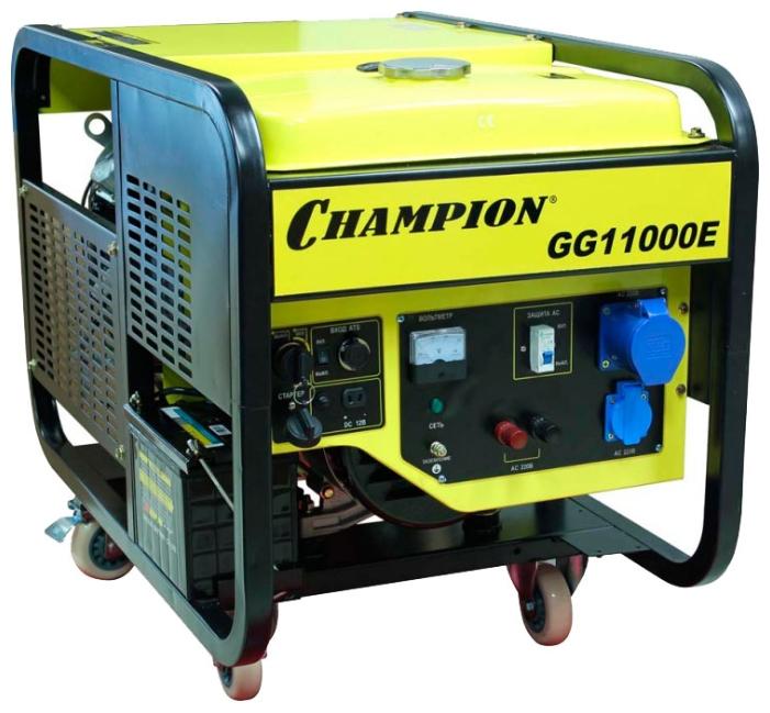 Электрогенератор Champion GG11000EЭлектрогенераторы<br><br><br>Тип электростанции: бензиновая<br>Тип запуска: электрический<br>Число фаз: 1 (220 вольт)<br>Объем двигателя: 620 куб.см<br>Мощность двигателя: 20 л.с.<br>Тип охлаждения: воздушное<br>Объем бака: 25 л<br>Активная мощность, Вт: 8500<br>Звукоизоляционный кожух: есть<br>Защита от перегрузок: есть