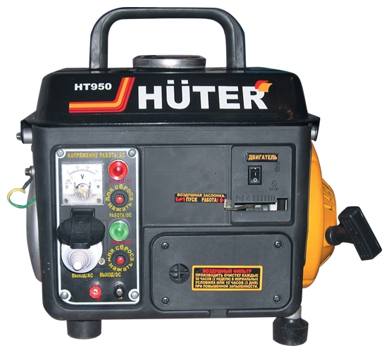 Электрогенератор Huter HT950AЭлектрогенераторы<br>- Легкий портативный бензиновый электрогенератор номинальной мощностью 0,65 кВт.<br>- Обслуживание потребителей переменного тока напряжением 220 В и постоянного тока 12 В, зарядка автомобильных аккумуляторов.<br>- Оснащен двухтактным одноцилиндровым двигателем внутреннего сгорания, работающим на неэтилированном бензине АИ-92.<br>- Независим от погодных условий и низких температур благодаря воздушному охлаждению двигателя.<br>- Низкий уровень шума – 57 дБ.<br>- Исключительная мобильность благодаря ручке для переноски, небольшому весу 20 кг, и компактным габаритам...<br><br>Тип электростанции: бензиновая<br>Тип запуска: ручной<br>Число фаз: 1 (220 вольт)<br>Мощность двигателя: 2 л.с.<br>Тип охлаждения: воздушное<br>Объем бака: 4.2 л<br>Активная мощность, Вт: 650<br>Защита от перегрузок: есть