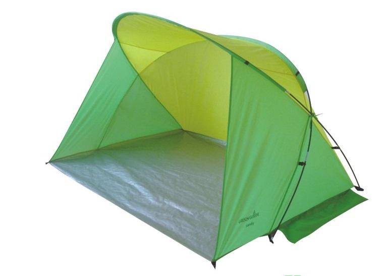 Палатка Green Glade SandyПалатки<br>Палатка пляжная Green Glade Sandy обеспечивает защиту от солнца, ветра и даже легких осадков - особенно полезен для очень маленьких детей. Очень прост в установке, имеет малый вес и удобный чехол с ручкой для переноски.<br><br>Такой пляжный тент просто незаменим для отдыха с детьми на пляже или на пикнике в жаркую солнечную погоду. Посадите в него ребенка с игрушками, и сами прилягте рядом, и наслаждайтесь покоем: в тени пляжной палатки дети не получат солнечный удар и не обгорят, они будут спокойно играть а вы сможете отдохнуть.<br><br>Дно палатки полностью водонепроницаемо...<br><br>Тип: палатка<br>Материал: 190Т Полиэстер PU