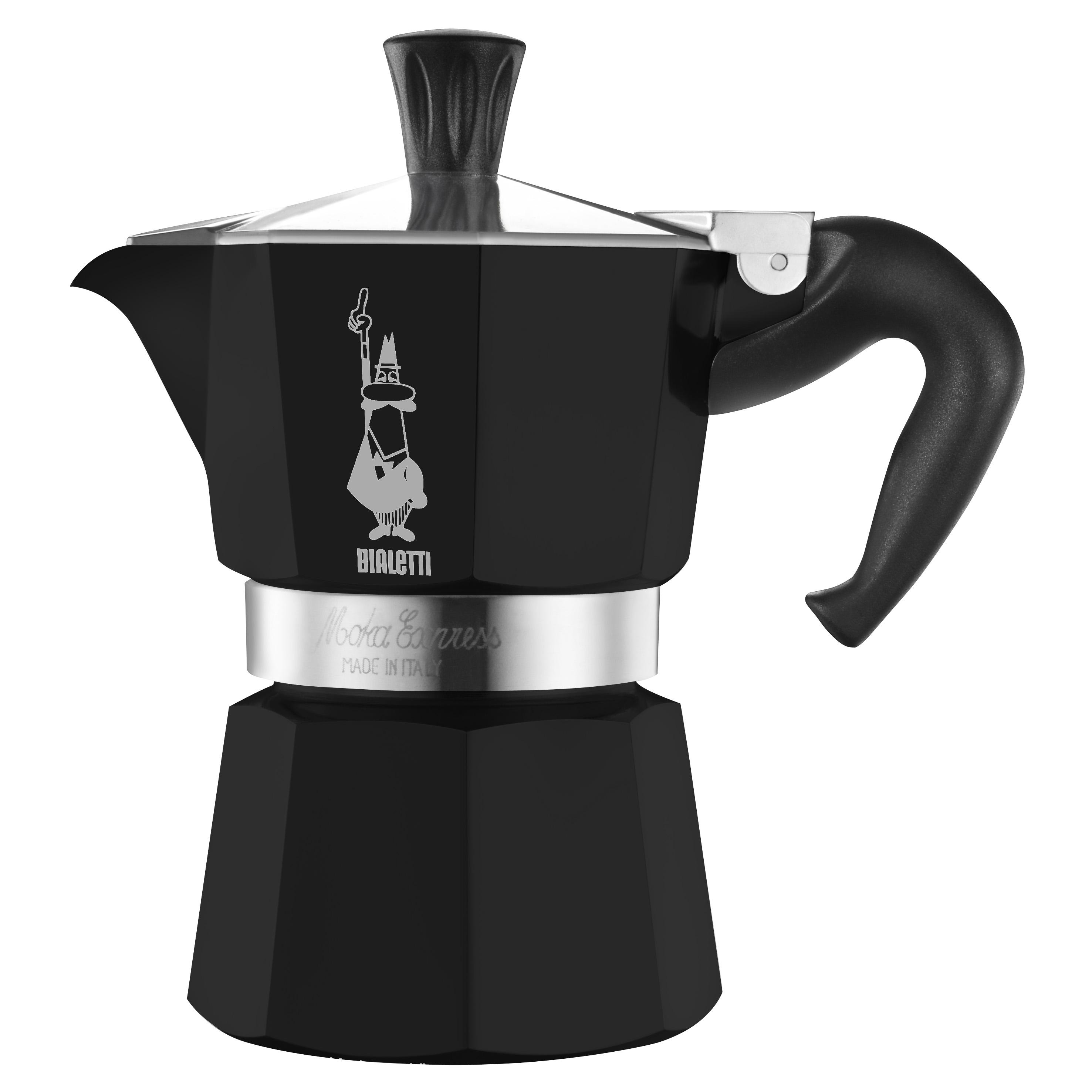 Кофеварка Bialetti Moka express 6 п. 3753 б/к BlackКофеварки и кофемашины<br><br><br>Тип : гейзерная кофеварка<br>Тип используемого кофе: Молотый<br>Объем, л: 0,24<br>Материал корпуса  : Металл