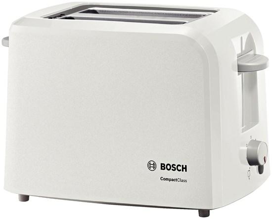 Тостер Bosch TAT 3A011Тостеры и минипечи<br><br><br>Тип: тостер<br>Тип управления: Механическое<br>Переключатели: поворотные<br>Мощность гриля, Вт: 980<br>Количество отделений: 2<br>Количество тостов: 2