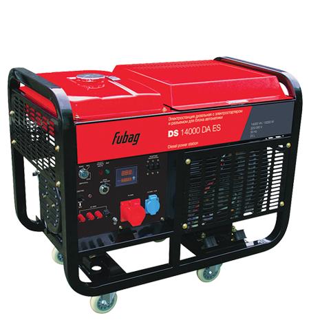 Электрогенератор FUBAG DS 14000 DA ESЭлектрогенераторы<br>Мощная трехфазная дизельная станция с электростартером и двухцилиндровым эффективным дизельным двигателем. Способна обеспечить долговременное бесперебойное питание загородного дома, небольшого производства, строительной площадки, объектов ЖКХ.<br><br>Преимущества:<br>- профессиональный OHV-двигатель FUBAG;<br>- цифровой дисплей;<br>- возможность подключения блока автоматики;<br>- электростартер;<br>- легкий запуск при отрицательных температурах за счет системы подогрева воздуха во впускном коллекторе;<br>- система защитного отключения при понижении уровня масла;...<br><br>Тип электростанции: дизельная<br>Тип запуска: ручной, электрический<br>Число фаз: 3 (380/220 вольт)<br>Тип охлаждения: жидкостное<br>Объем бака: 25 л<br>Класс защиты генератора: IP23<br>Активная мощность, Вт: 12500<br>Защита от перегрузок: есть<br>Описание: силовые клеммы для подключения мощных трехфазных потребителей; возможность подключения блока автоматики для организации автономной системы электроснабжения