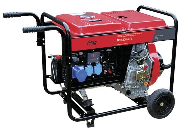 Электрогенератор FUBAG DS 5500 A ESЭлектрогенераторы<br>Надежная и экономичная электростанция номинальной мощностью 5 кВт. Используется в качестве резервного источника электроэнергии. Большой объем топливного бака гарантирует длительную<br>работу без дозаправки до 5,1 часов.<br><br>Преимущества<br>- профессиональный OHV-двигатель FUBAG;<br>- цифровой дисплей;<br>- система AVR;<br>- электростартер;<br>- легкий запуск при отрицательных температурах за счет системы подогрева воздуха во впускном коллекторе;<br>- система защитного отключения при понижении уровня масла;<br>- автомат для защиты от перегрузок или короткого замыкания;<br>- возможность...<br>